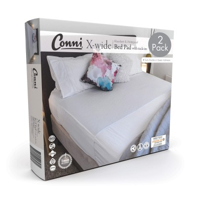 Conni X-wide Reusable Bed Pad with Tuck-ins White - 2PACK