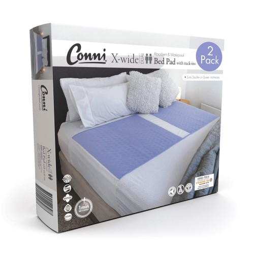 Conni X-wide Dual Reusable Bed Pad with Tuck-ins Mauve - 2PACK