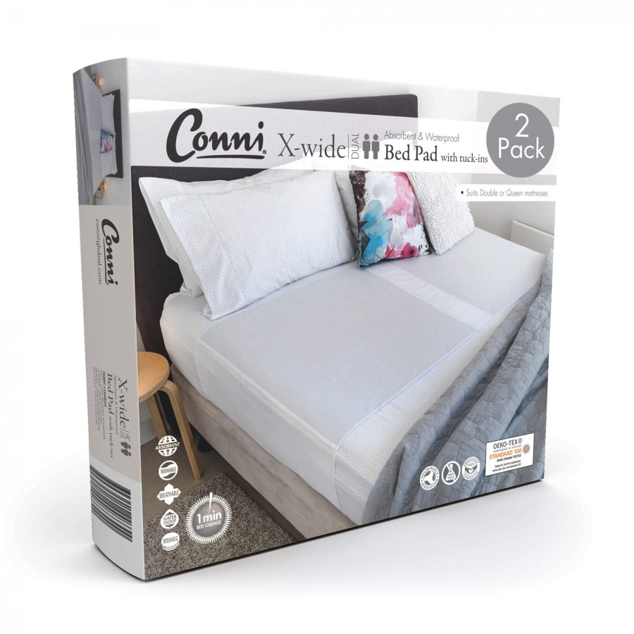 Conni X-wide Dual Reusable Bed Pad with Tuck-ins White - 2PACK