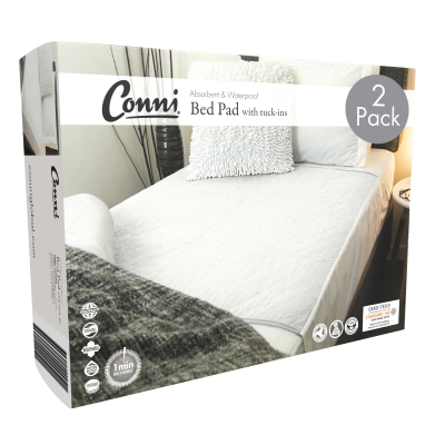 Conni Reusable Bed Pad with Tuck-ins White - 2PACK