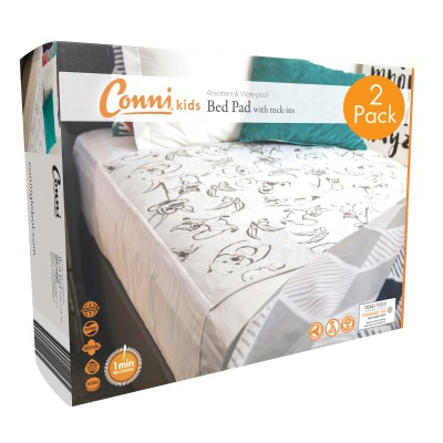 Conni Kids Reusable Bed Pad with Tuck-ins Aussie Animals - 2 PACK