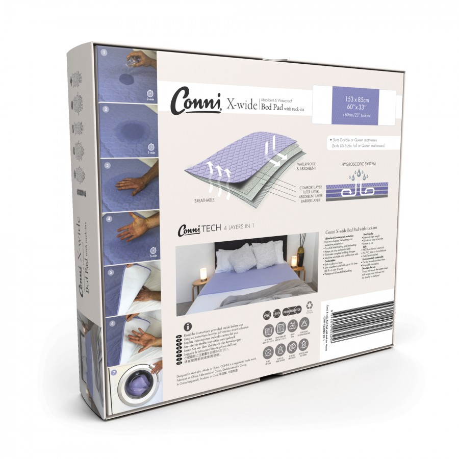 Conni X-wide Reusable Bed Pad with Tuck-ins - Mauve