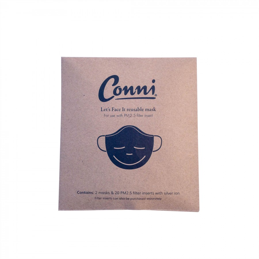 Conni Let's Face It reusable mask - x2 Masks x20 Filter Inserts - Adult