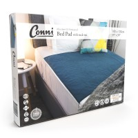 Conni Reusable Bed Pad with Tuck-ins - Teal Blue